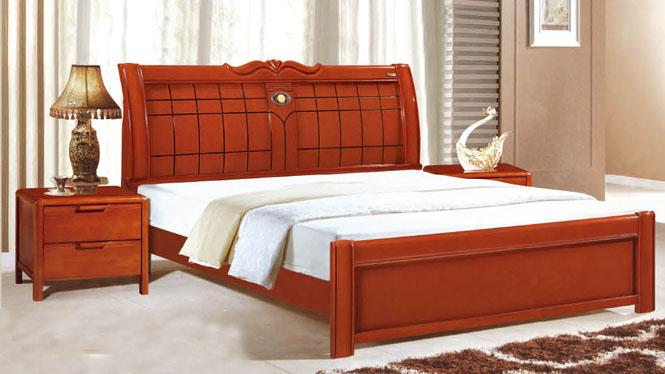 实木床 中式双人床1.8 1.5米高箱储物床 全实木橡木婚床 床918#