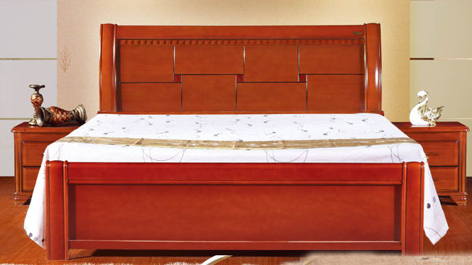 中式 实木床 橡木床 双人床 1.5 1.8米 可配高箱储物床913#