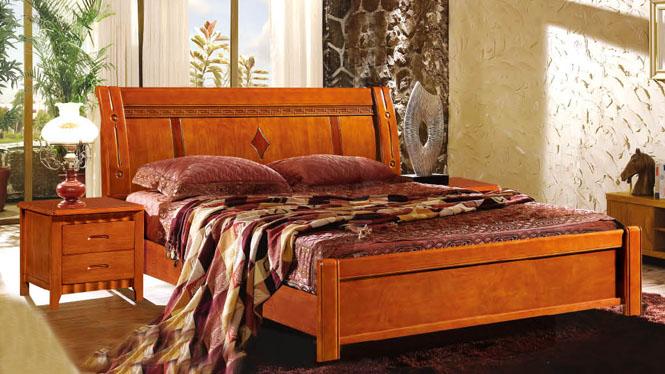 简约现代中式白色田园全实木床1.5m1.8米橡木床储物高箱床858#