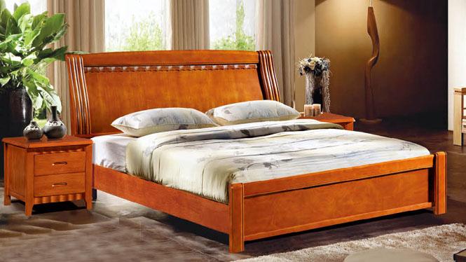 实木床橡木床1.8米双人床 北欧简约床 1.5米单人床成人欧式家具806#