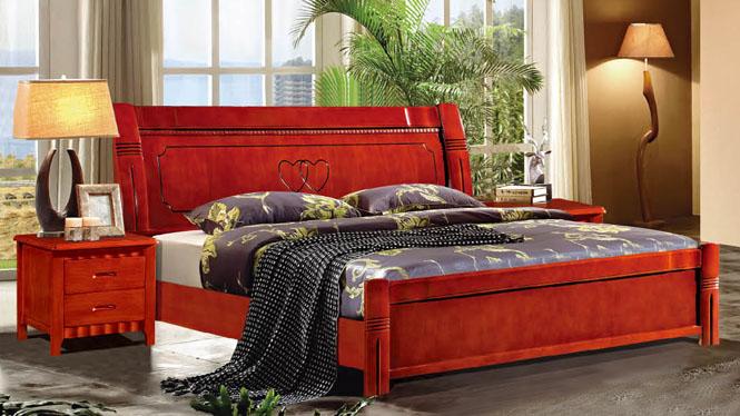 中式实木床家具1.5 1.8米橡木床 全实木双人床 储物高箱床类838#