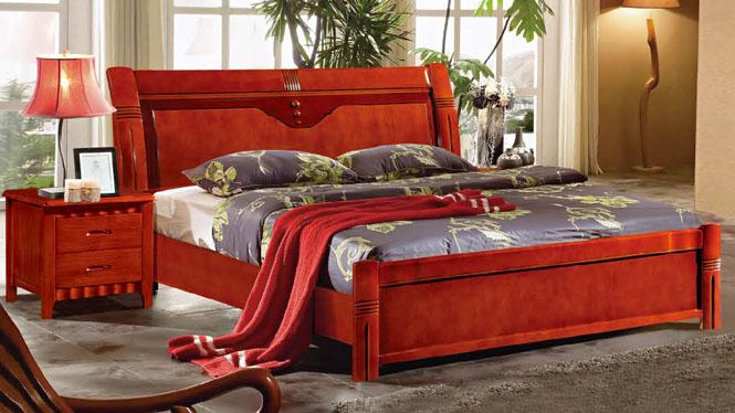 中式实木床现代橡木床原木双人床高箱婚床1.51.8米全纯实木床909#
