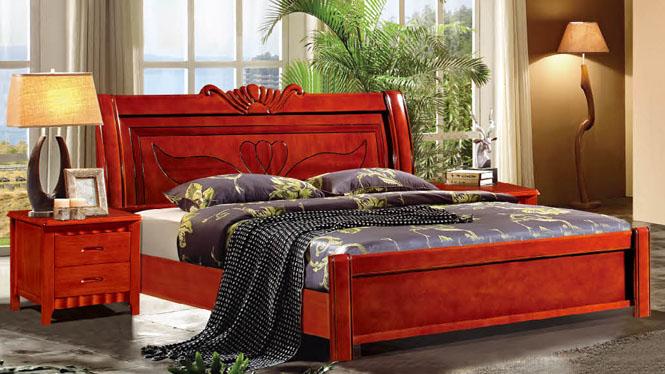 实木床橡木床板式床 简约现代1.51.8米双人床储物床特价658#