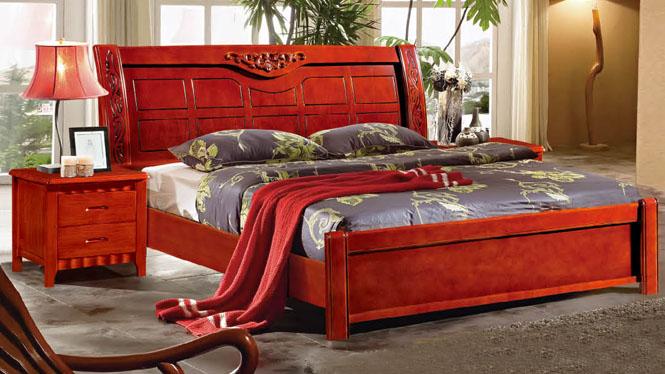 现代简约橡木高箱床实木床1.5 1.8米双人床卧室家具622#