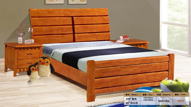实木双人床高箱储物床1.2米1.5米儿童床橡木硬板床506#