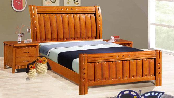实木床类儿童床板式韩式公主床橡木床男孩女孩1.2米1.5米1.8米床503#