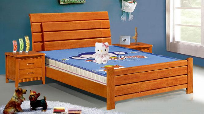 实木双人床高箱储物床1.2米1.5米儿童床橡木硬板床501#