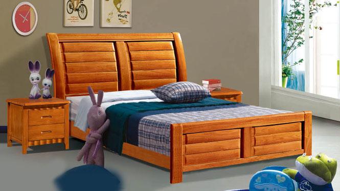 实木双人床 白橡木婚床卧室家具 儿童1.2 1.5米单人床101#