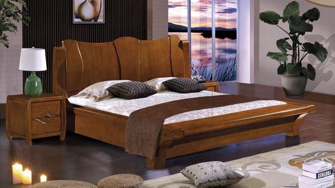 现代中式实木床橡木床 1.9米 双人床 婚床 卧室家2635#