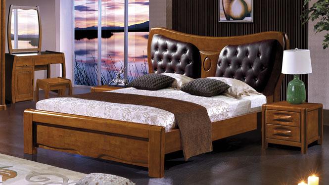 现代中式实木床1.8米双人床中式高箱储物橡木大床家具2621#