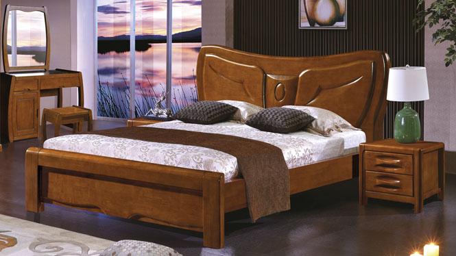 实木床1.8米橡木床双人床简约现代实木家具气压高箱储物床类2620#