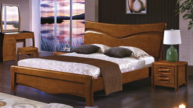 实木床 1.8米中式橡木床双人床高箱储物床婚床2623#