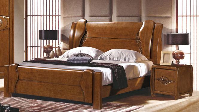 实木床 橡木床 双人床 卧室床类 现代中式家具1.8米床2619#