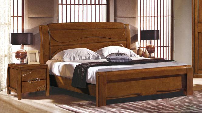现代中式实木床1.8米双人床婚床 橡木床卧室家具床类2628#