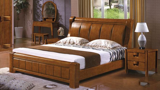 现代中式简约实木床双人大床1.8m婚床橡木储物高箱单人床2625#