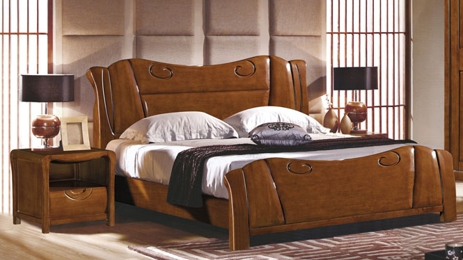 中式实木床1.8米气压高箱床储物床橡木床双人床特价婚床2608#