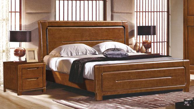 简约中式1.8米双人床卧室实木家具橡木床实木床箱体床2615#