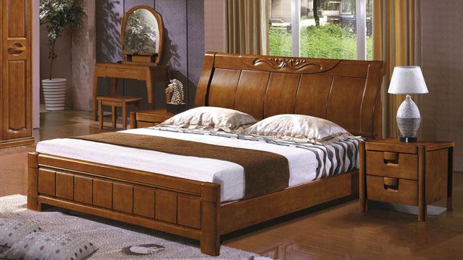 橡木实木床1.8床 简约橡木床 婚床 实木床 橡木储物床2626#