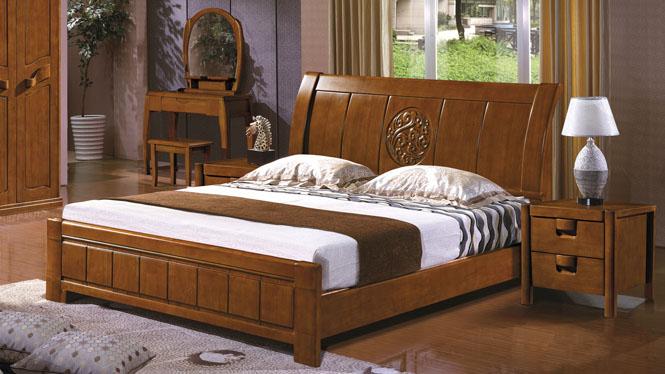 简约中式1.8米双人床卧室实木家具橡木床实木床箱体床2627#