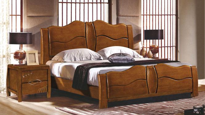 橡木实木床1.8米床 简约橡木床 婚床 橡木储物床2603#