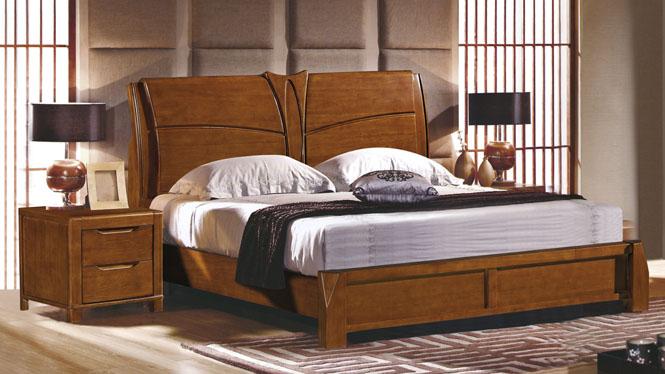 实木床1.8米橡木双人床 卧室实木家具现代中式箱体床婚床2610#
