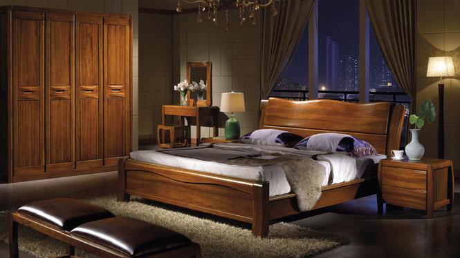 现代中式实木床橡木床 1.8 双人床 床头婚床 卧室家W-3609#