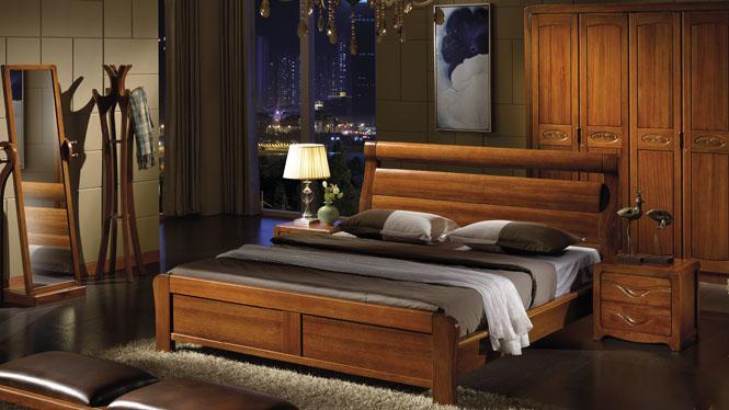 现代中式实木床1.8米双人床中式高箱储物橡木大床家具W-305#