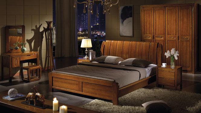 简约现代中式实木床橡木床1.8床婚床橡木储物床高箱床W-303#