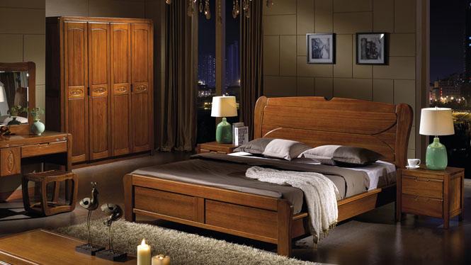 实木床橡木床1.8米 简约现代中式床 高箱储物婚床双人床 实木床W-3608#
