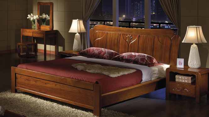 双人实木床橡木床婚床1.8米简约现代中式高箱储物床特价家具W-3607#