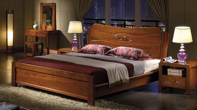 床 实木床 现代中式全实木床 卧室1.8米双人橡木床婚床高箱储物床W-302#