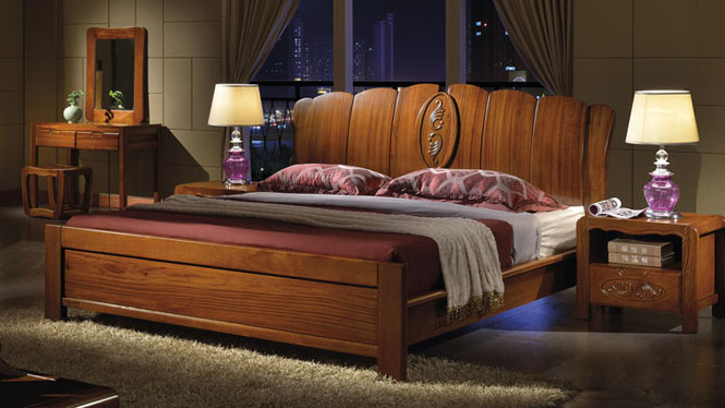 橡木床 实木床 双人全实木橡木床1.8米现代简约中式床类家具W-301#