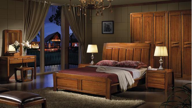 中式橡木床单双人床1.8米简约现代全实木高箱储物婚床住宅家具W-3602#