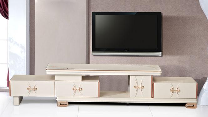 电视柜 家具 现代简约伸缩电视柜茶几组合 客厅家具金粉TV1750