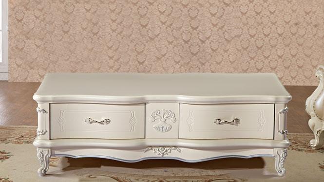 爆款欧式单纯白色精美家具 家居客厅淡雅茶几 带抽屉象牙白茶几尚欧风情CJ006