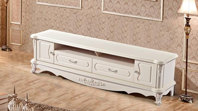 新款欧式客厅板材家具视听柜 白色烤漆家具电视柜 客厅地柜组合柜尚欧风情TV1820