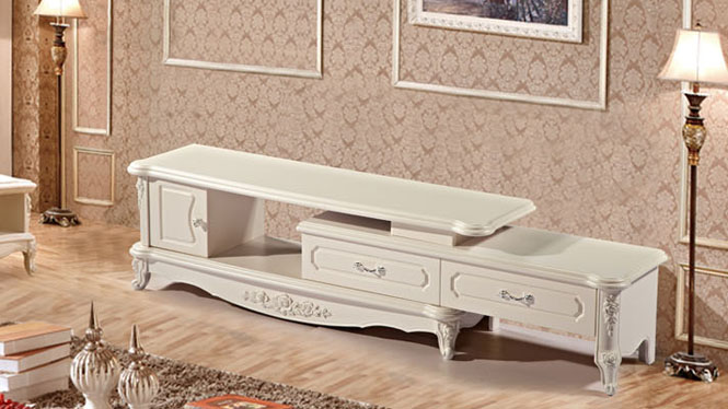 欧式白色板式烤漆客厅电视柜 客厅家具主流欧式风格配套听视柜尚欧风情TV2020