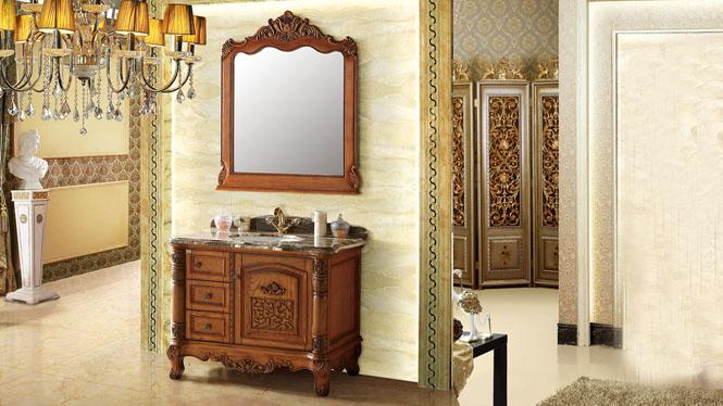 橡木欧式浴室柜组合实木落地洗手盆玉石盆卫浴柜洗脸盆组合1000mm A6601B
