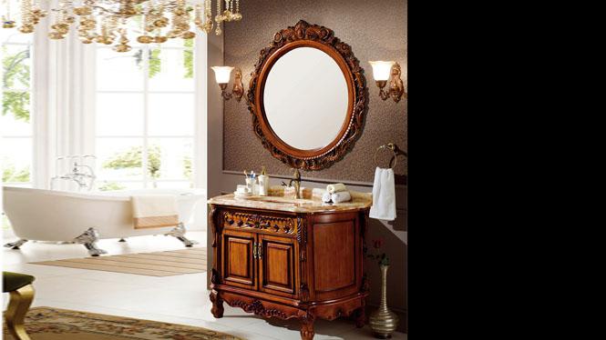 浴室柜橡木实木卫生间柜洗脸盆美式欧式落地浴室柜卫浴柜1210mm A8085
