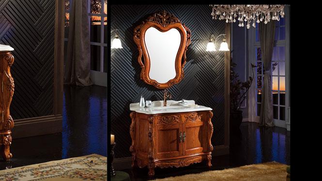 浴室柜橡木组合落地 中式洗漱台盆洗脸洗手面盆柜 实木浴室柜子1000mm A6603B