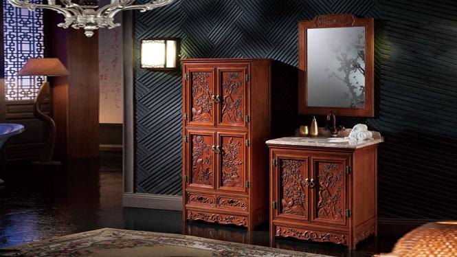 仿古浴室柜橡木实木卫生间柜洗脸盆美式欧式落地浴室柜卫浴柜800mm A8801C