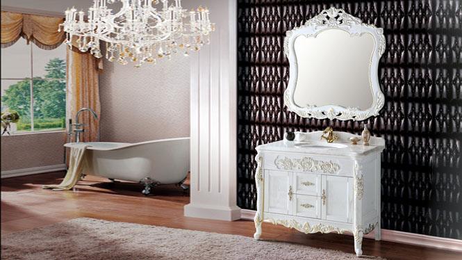 现代中式橡木浴室柜组合卫生间实木落地卫浴洗脸盆洗手盆柜1100mm A6602B