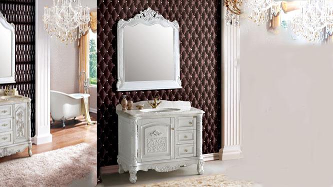 现代中式浴室柜组合橡木实木落地卫浴柜洗手洗脸盆柜卫生间镜柜1000mm A6601C