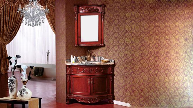 现代欧美式浴室柜橡木 仿古卫浴柜实木落地洗脸盆柜镜子组合卫浴1010mm A8071