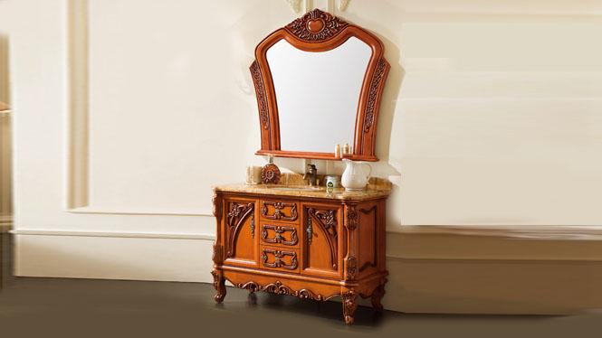 欧式浴室柜仿古落地式复古雕花橡木实木卫浴柜洗手台盆组合1200mm A8208