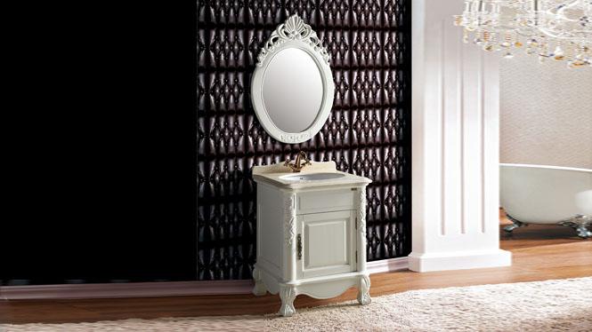橡木浴室柜实木卫浴柜落地式组合柜定做洗手间洗脸台盆柜620mm A8068