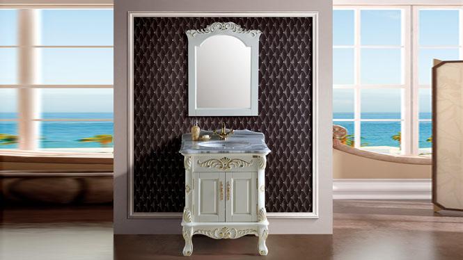 浴室柜组合洗漱台 落地橡木洗手盆实木洗脸台盆欧美式浴室柜710mm A8101B