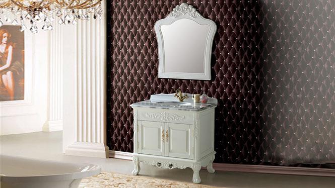 落地式实木橡木浴室柜组合卫浴柜仿古浴室柜欧式浴室柜欧式梳洗柜900mm A8102