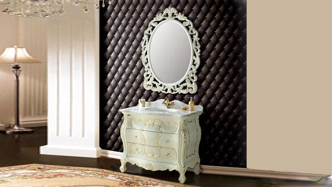 欧式浴室柜 仿古卫浴柜落地式实木橡木美式洗漱洗手台洗脸盆组合1020mm A8005B