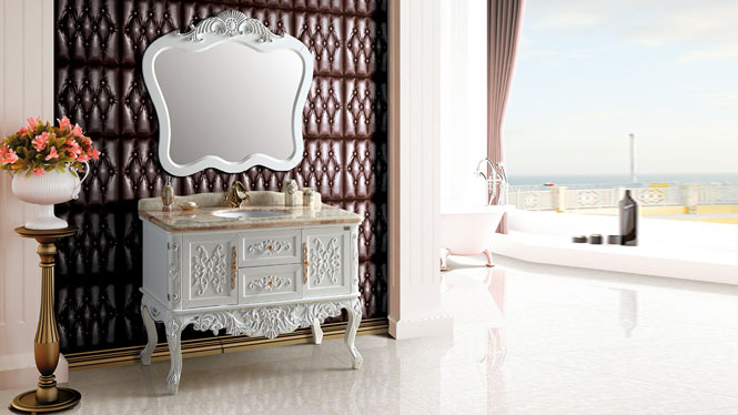 落地式实木橡木浴室柜组合卫浴柜仿古浴室柜欧式浴室柜欧式梳洗柜1225mm A8066B